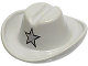 Part No: 3629px2  Name: Minifigure, Headgear Hat, Cowboy with Silver Star Pattern