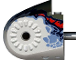 Part No: 40374pb03  Name: Dinosaur Body Quarter with Pins, Set 6721 Pattern - Dark Gray/Sand Blue/Dark Blue/Red