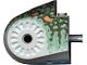 Part No: 40374pb04  Name: Dinosaur Body Quarter with Pins, Set 6722 Pattern - Dark Gray, Sand Green, Medium Orange, and Dark Green Spotted