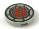 Part No: 4150ps1  Name: Tile, Round 2 x 2 with Yellow and Black Vent Lines in Red Circle and Plates with Rivets Pattern (SW Podracer)