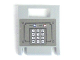 Part No: 4346pb17  Name: Container, Box 2 x 2 x 2 Door with Slot and Keypad and Blue and Red Buttons on Dark Gray Background Pattern (Sticker) - Set 7035