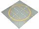 Part No: 6099pb01  Name: Baseplate, Road 32 x 32 9-Stud Landing Pad with Yellow Circle, 1-way Lines, Yellow Lines Not Touching Circle Pattern