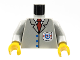 Part No: 973pb0041c01  Name: Torso Rescue Coast Guard Logo, Red Tie, Suit Buttons Pattern / Light Gray Arms / Yellow Hands