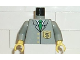 Part No: 973pb0194c01  Name: Torso Bank Employee Jacket with Tie and Dollar Sign Badge Pattern / Light Gray Arms / Yellow Hands