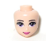 Part No: 19687  Name: Mini Doll, Head Friends with Purple Eyes, Dark Pink Lips and Closed Mouth Pattern