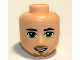 Part No: 19739  Name: Mini Doll, Head Friends Male Large with Green Eyes, Eyebrows, Beard and Open Smile Pattern
