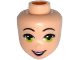 Part No: 28410  Name: Mini Doll, Head Friends with Lime Eyes, Black Eyebrows, Pink Lips and Open Smile Pattern