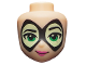 Part No: 33414  Name: Mini Doll, Head Friends with Thin Black Pointed Mask with Yellowish Green Lenses, Bright Green Eyes and Dark Pink Lips Pattern (Batgirl)