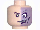 Part No: 3626bpb0258  Name: Minifigure, Head Male Half Normal, Half Purple with Scar Pattern (Two-Face) - Blocked Open Stud