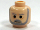Part No: 3626bpb0263  Name: Minifigure, Head Beard with SW Gray Beard and Eyebrows, Lines under Eyes, Furrowed Brow Pattern - Blocked Open Stud