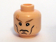 Part No: 3626bpb0289  Name: Minifigure, Head Male Cheek Lines, Chin Dimple, Stern Dark Tan Eyebrows, Scar above Right Eye Pattern - Blocked Open Stud