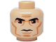 Part No: 3626bpb0314  Name: Minifigure, Head Male Black Thick Eyebrows, Large Eyes, Cheek Lines Pattern (SW Clone Wars Trooper) - Blocked Open Stud
