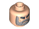Part No: 3626bpb0322  Name: Minifigure, Head Beard Gray with Gray Eyebrows, Downturned Mouth, Deeply Furrowed Brow Pattern (Dooku Clone Wars) - Blocked Open Stud