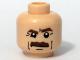 Part No: 3626bpb0357  Name: Minifigure, Head Moustache Brown Bushy, Brown Eyebrows, White Pupils Pattern - Blocked Open Stud