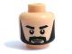 Part No: 3626bpb0414  Name: Minifigure, Head Beard Black Full, Thick Black Eyebrows, White Pupils Pattern - Blocked Open Stud