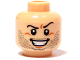 Part No: 3626bpb0419  Name: Minifigure, Head Beard Stubble, Arched Eyebrow, Evil Grin with Teeth Pattern - Blocked Open Stud