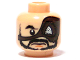 Part No: 3626bpb0421  Name: Minifigure, Head Beard, Moustache, Large Eyepatch, Determined Expression Pattern - Blocked Open Stud