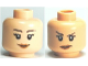 Part No: 3626bpb0482  Name: Minifigure, Head Dual Sided Female Smile / Annoyed Pattern - Blocked Open Stud