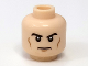 Part No: 3626bpb0704  Name: Minifig, Head Male Black Eyebrows, Cheek Lines, White Pupils and Frown Pattern - Blocked Open Stud