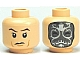 Part No: 3626cpb0488  Name: Minifigure, Head Dual Sided HP Death Eater Mask with White Swirls / Raised Eyebrows Pattern - Hollow Stud
