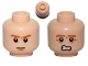 Part No: 3626cpb0758  Name: Minifigure, Head Dual Sided Brown Eyebrows, Pupils, Chin Dimple, Frown / Scared Pattern - Hollow Stud