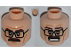 Part No: 3626cpb0876  Name: Minifigure, Head Dual Sided Black Glasses, Brown Moustache, Wrinkles, Mouth Closed / Clenched Teeth Pattern - Hollow Stud