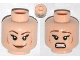 Part No: 3626cpb0933  Name: Minifigure, Head Dual Sided Female Brown Eyebrows, Eyelashes, Medium Dark Flesh Lips, Cheek Lines, Smile / Scared Pattern - Hollow Stud