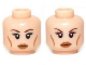 Part No: 3626cpb0936  Name: Minifigure, Head Dual Sided Female Brown Thin Eyebrows, Eyelashes, Cheek Lines, Smile / Determined Pattern - Hollow Stud