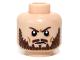 Part No: 3626cpb0942  Name: Minifigure, Head Beard Brown, Furrowed Brow Pattern - Hollow Stud