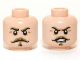 Part No: 3626cpb0960  Name: Minifigure, Head Dual Sided Dark Tan Moustache and Eyebrows, Stern / Angry Pattern (Captain J. Fuller) - Hollow Stud