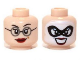Part No: 3626cpb0966  Name: Minifigure, Head Dual Sided Female Glasses, Dark Red Lips / Black Eye Mask, White Face Paint, Open Mouth Smile Pattern (Dr Harleen Quinzel) - Hollow Stud