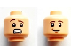 Part No: 3626cpb0975  Name: Minifigure, Head Dual Sided Brown Eyebrows, White Pupils, Chin Dimple, Smile / Open Mouth Scared Pattern - Hollow Stud