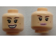 Part No: 3626cpb1003  Name: Minifigure, Head Dual Sided Female Brown Eyebrows, Beauty Marks, Pink Lips, Closed Mouth / Open Mouth Pattern (SW Padme Amidala) - Hollow Stud