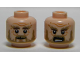 Part No: 3626cpb1020  Name: Minifigure, Head Dual Sided LotR Beard Dark Tan, Bushy Eyebrows, Wrinkles, White Pupils, Smile / Shouting Pattern (Radagast) - Hollow Stud