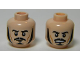 Part No: 3626cpb1022  Name: Minifigure, Head Dual Sided LotR Bard Long Black Sideburns, Moustache, Goatee, Frowning / Angry Pattern - Hollow Stud