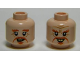 Part No: 3626cpb1023  Name: Minifigure, Head Dual Sided LotR Dark Orange Moustache, Goatee, Bushy Eyebrows, Wrinkles, Yellowed Teeth, Smile / Open Mouth Pattern - Hollow Stud