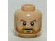 Part No: 3626cpb1024  Name: Minifigure, Head Beard Brown, Bushy Eyebrows, White Pupils, Stern Pattern - Hollow Stud