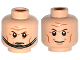 Part No: 3626cpb1153  Name: Minifigure, Head Dual Sided Brown Eyebrows, Cheek Lines, Forehead Lines, Smile / Determined, Chin Strap Pattern - Hollow Stud