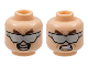 Part No: 3626cpb1155  Name: Minifigure, Head Dual Sided Thick Brown Eyebrows, Silver Sunglasses, Angry Bared Teeth / Open Mouth Smile Pattern (Doc Ock) - Hollow Stud