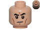 Part No: 3626cpb1222  Name: Minifigure, Head Black Eyebrows, Cheek Lines, White Pupils, Frown Pattern - Hollow Stud
