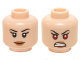 Part No: 3626cpb1227  Name: Minifigure, Head Dual Sided Female Black Eyebrows, Eyelashes, Dark Flesh Lips, Smile / Bared Teeth with Red Eyes Pattern - Hollow Stud