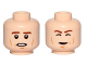 Part No: 3626cpb1247  Name: Minifigure, Head Dual Sided Brown Eyebrows, Cheek Lines, Chin Dimple, Open Mouth / Closed Eyes Carbonite Pattern (SW Han Solo) - Hollow Stud
