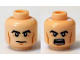 Part No: 3626cpb1263  Name: Minifigure, Head Dual Sided Black Thick Eyebrows, Cheek Lines, Closed Mouth  / Open Mouth with Teeth Pattern - Hollow Stud