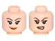 Part No: 3626cpb1323  Name: Minifigure, Head Dual Sided Female Brown Eyebrows, Eyelashes, Light Brown Lips, Smile / Angry Pattern - Hollow Stud