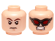 Part No: 3626cpb1332  Name: Minifigure, Head Dual Sided Brown Eyebrows, Stern Expression / Dark Red Goggles, Clenched Teeth Pattern (Hawkeye) - Hollow Stud