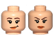 Part No: 3626cpb1356  Name: Minifigure, Head Dual Sided Female Brown Eyebrows, Eyelashes, Pink Lips, Smile / Frown Pattern - Hollow Stud