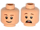 Part No: 3626cpb1394  Name: Minifigure, Head Dual Sided Brown Eyebrows, Pupils, Smile / Open Mouth Scared with Teeth and Tongue Pattern (Gray) - Hollow Stud