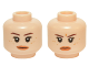 Part No: 3626cpb1419  Name: Minifigure, Head Dual Sided Female Brown Eyebrows, Freckles, Peach Lips Neutral / Scowling Pattern (Rey) - Hollow Stud