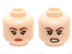 Part No: 3626cpb1441  Name: Minifigure, Head Dual Sided Female Brown Eyebrows, Eyelashes, Orange Lips, Neutral / Angry Pattern (Chell) - Hollow Stud