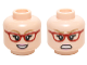 Part No: 3626cpb1459  Name: Minifigure, Head Dual Sided Female Glasses Red Angled Frames, Dark Tan Eyebrows with Open Smile / Angry Pattern (Bernadette) - Hollow Stud